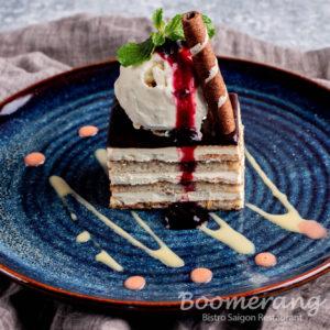 Opera cake with vanilla ice cream