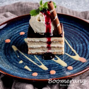 Opera cake with vanilla ice cream