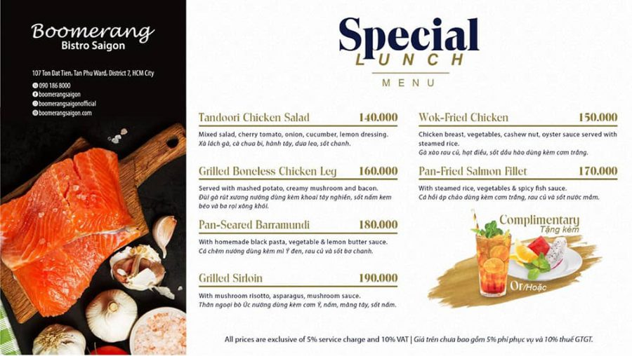 This november, enjoy a fancy Special Lunch with our special offers