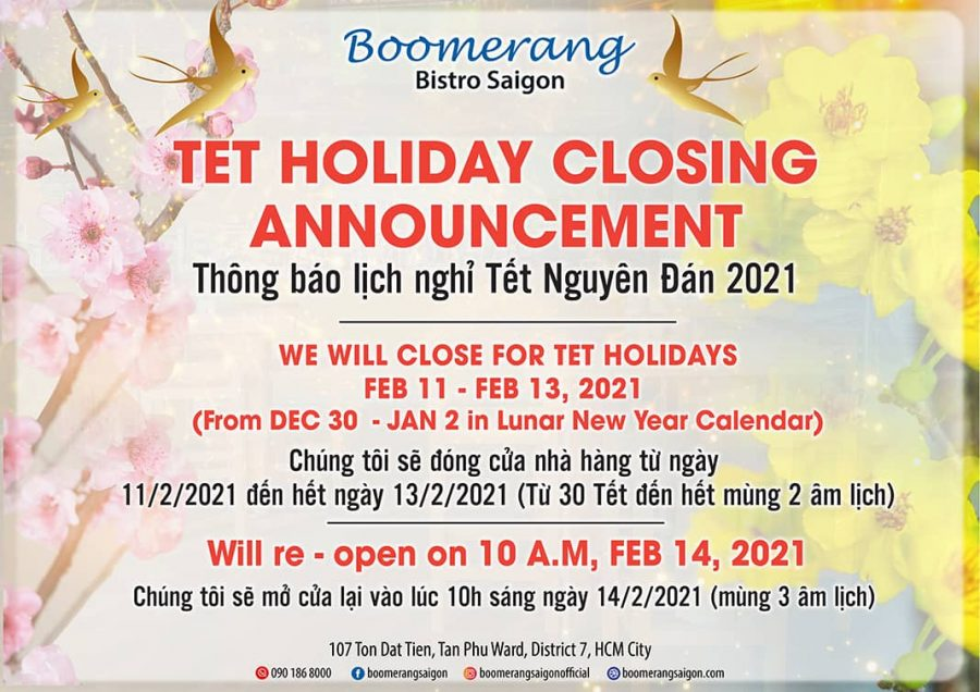 TET HOLIDAY CLOSING ANNOUNCEMENT